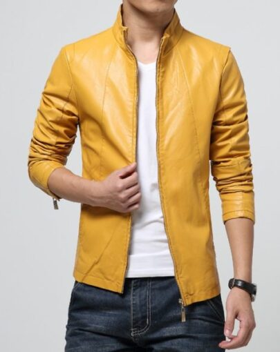 Men Stand Collar Leather Jacket