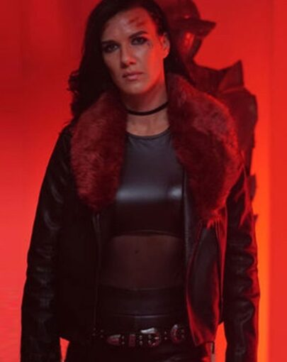 Acceleration Rhona Leather Jacket with Fur Collar